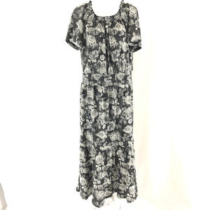 Woman Within Maxi Dress Floral Blouson Ruffle Gray